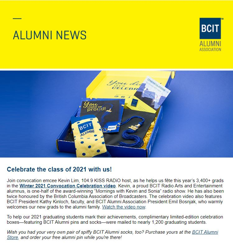 Alumni news header and convocation box with newsletter sample