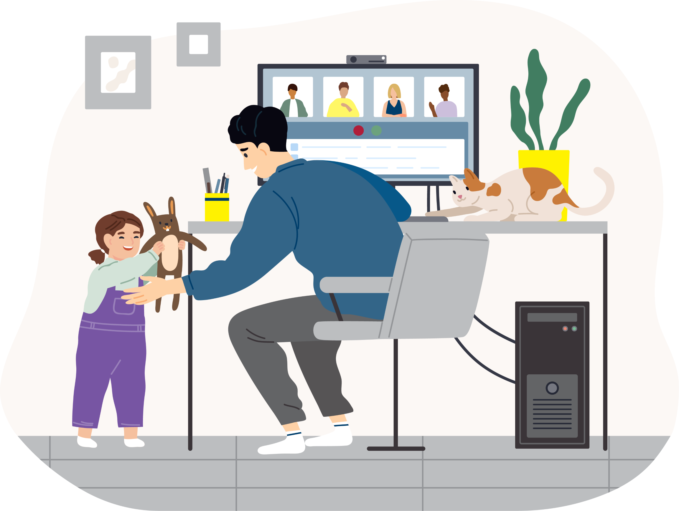 Illustration of a parent working from home
