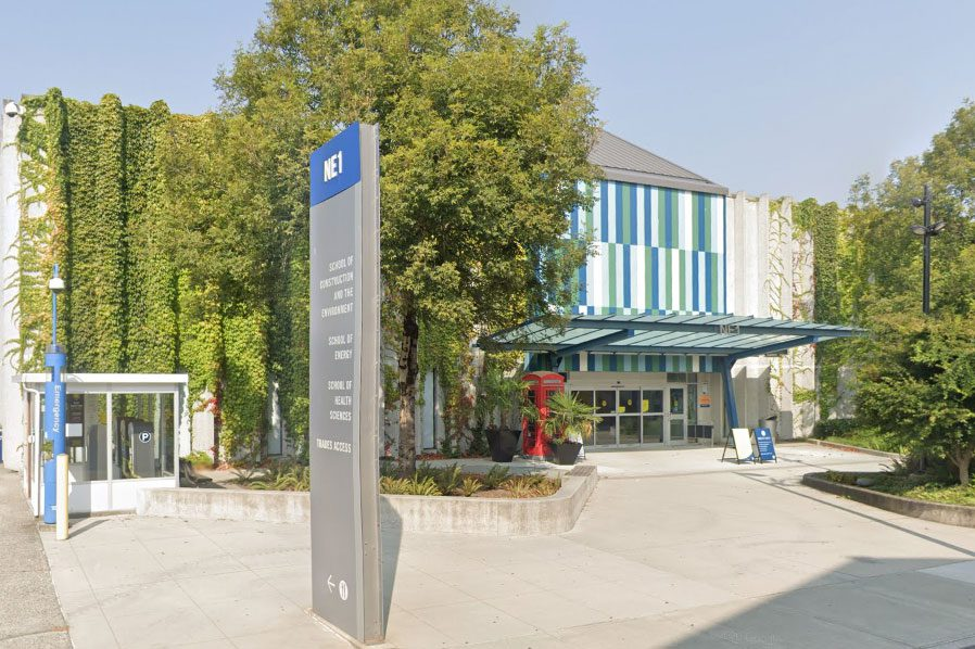 NE1 building entrance and sign at BCIT Burnaby