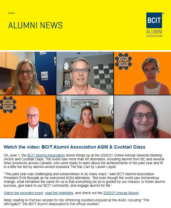 Alumni news header and Zoom AGM event with six people smiling and description below