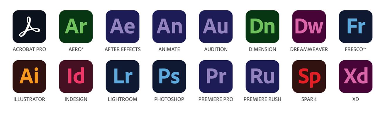 Adobe Creative Cloud apps: Acrobat Pro, Aero, After Effects, Animate, Audition, Dimension, Dreamweaver, Fresco, Illustrator, InDesign, Lightroom, Photoshop, Premiere Pro, Premiere Rush, Spark, Xd.