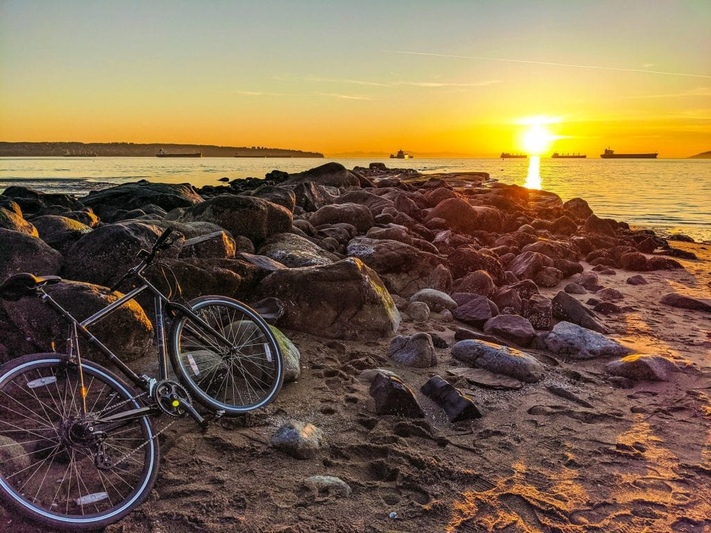 Bicycle parked at beach