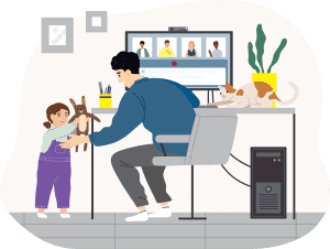 Illustration of parent working with home with child