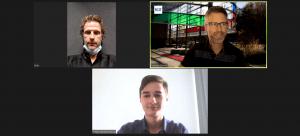 screen shot of online meeting between three people