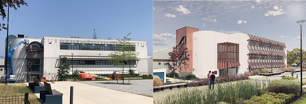 Composite image of the N25 building showing current progress on work and an impression of the finished building