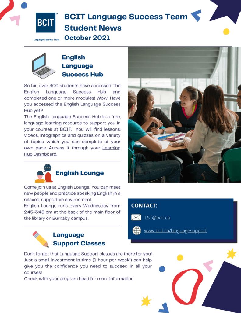 Language Success Team Student Newsletter October 2021